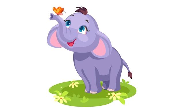 색상으로 그리는 귀여운 아기 코끼리와 나비 개요 무료 벡터
