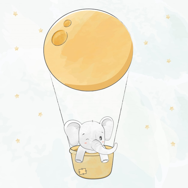 Cute baby elephant in a basket and super moon water color cartoon hand drawn Premium Vector