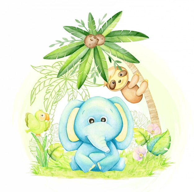 Cute baby elephant, blue color, sitting under a palm tree, next to a sloth, and a parrot. watercolor concept, with tropical animals, in a cartoon style. Premium Vector