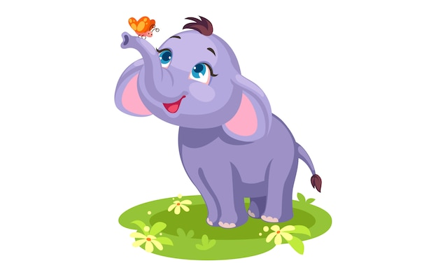 Cute baby elephant and butterfly outline drawing to color Free Vector