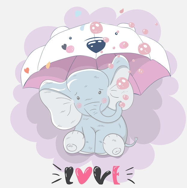 Cute Baby Elephant Friends Cartoon Hand Drawn Vector