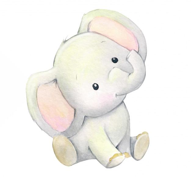 漫画のスタイルでかわいい象の赤ちゃん。子供の休日のための水彩画の動物。 Premiumベクター