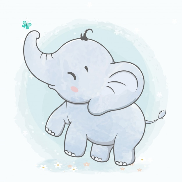 Cute baby elephant play with butterfly water color cartoon hand drawn Premium Vector