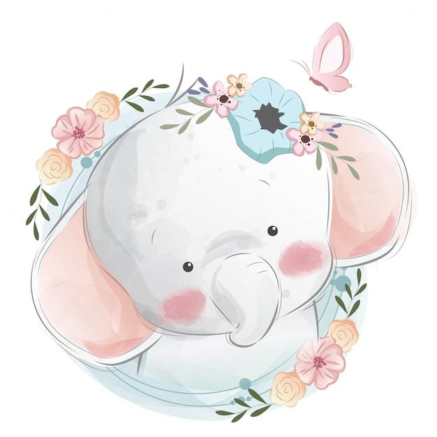 Cute baby elephant portrait Premium Vector