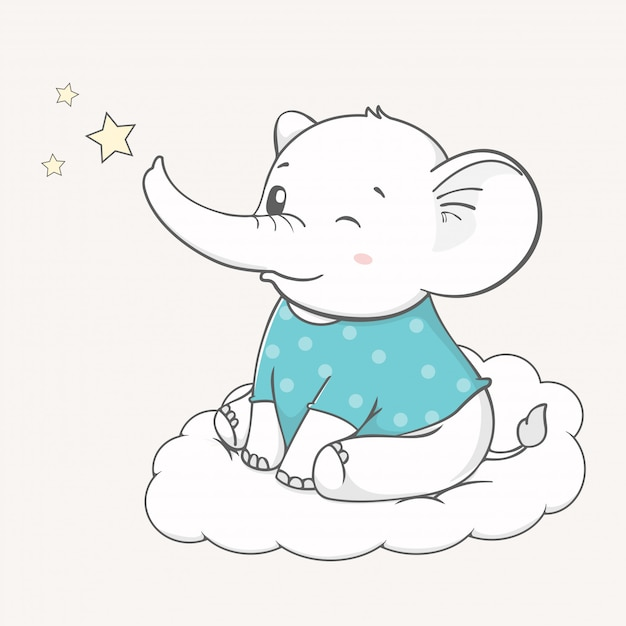 Cute baby elephant sit on the cloud cartoon hand drawn Premium Vector