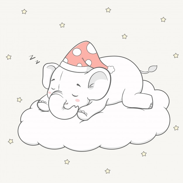 Cute baby elephant sleep on the cloud cartoon hand drawn Premium Vector