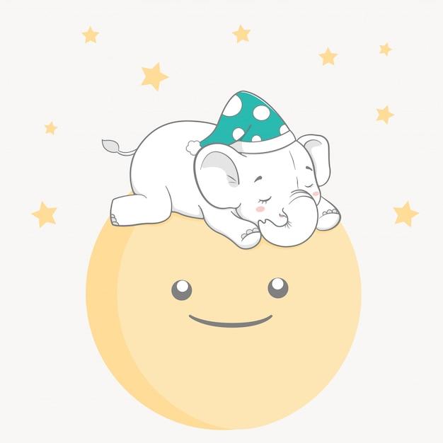 Cute baby elephant sleep on the moon Premium Vector