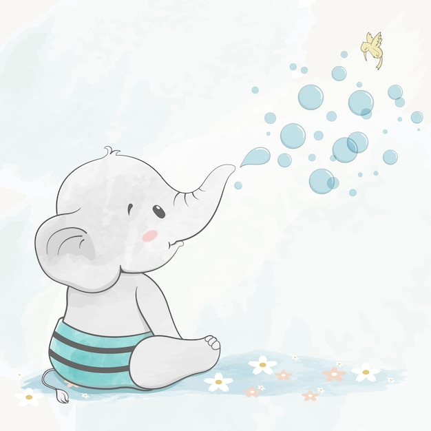 Cute baby elephant with air bubbles water color cartoon hand drawn Premium Vector