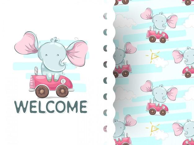 車の漫画とかわいい赤ちゃん象 Premiumベクター