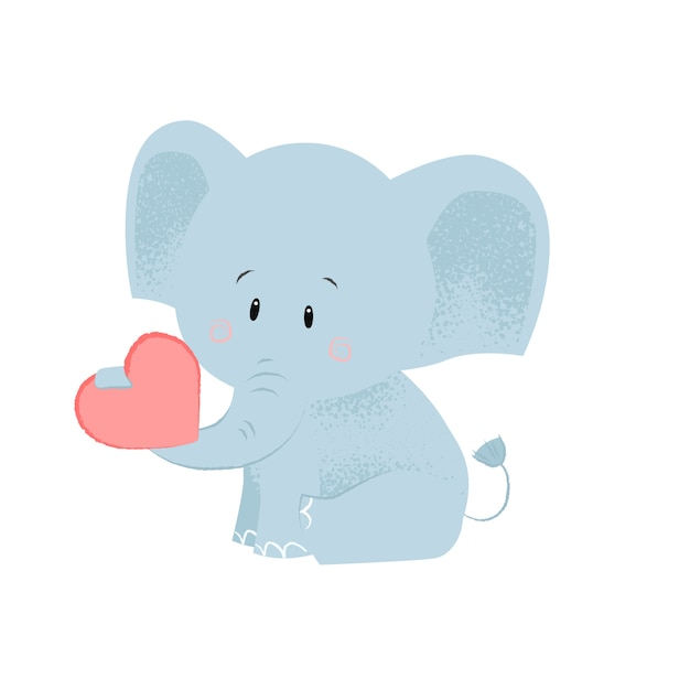 Cute baby elephant with red heart in trunk Free Vector