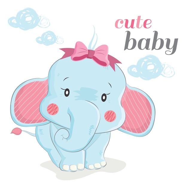 Cute Baby Elephant Premium Vector