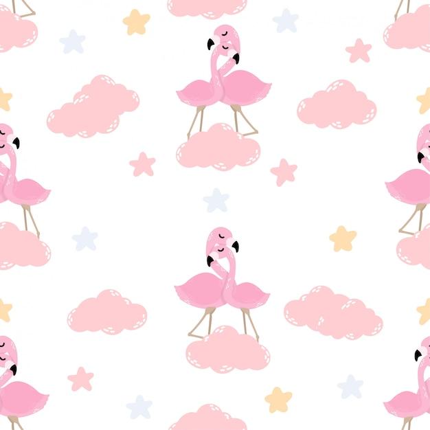 귀여운 아기 플라밍고 동물 원활한 패턴 프리미엄 벡터