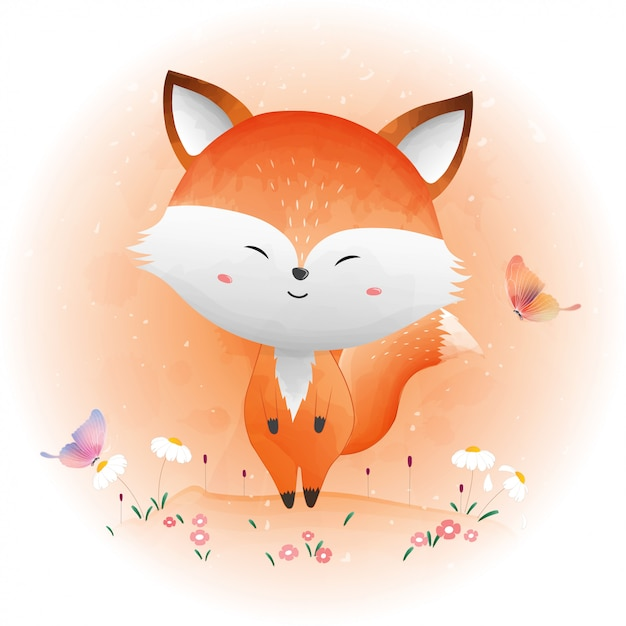 Cute baby fox and butterfly Premium Vector