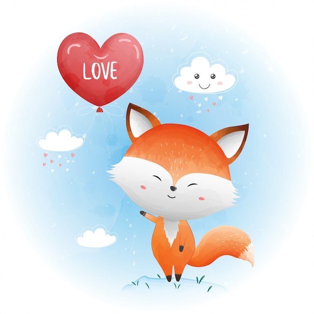 Cute baby fox with red heart balloon. Premium Vector