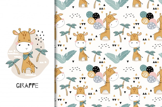 Cute baby giraffe animal character. card and seamless pattern set. hand drawn textile design illustration Premium Vector