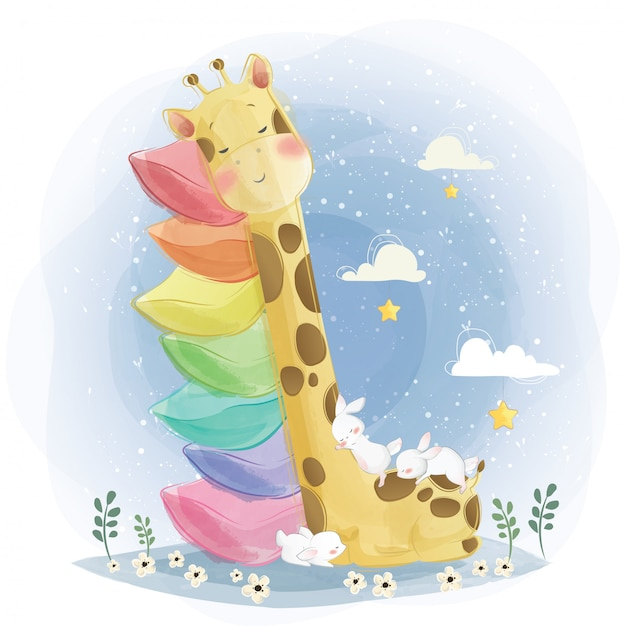 Cute baby giraffe sleeping on the stacked pillows Premium Vector