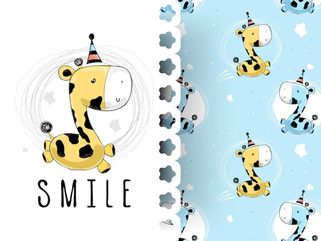 Cute baby giraffe smiling with pattern background Premium Vector