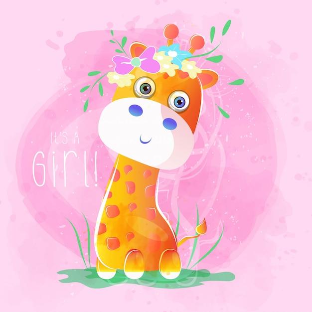 Cute baby giraffe with flowers Premium Vector