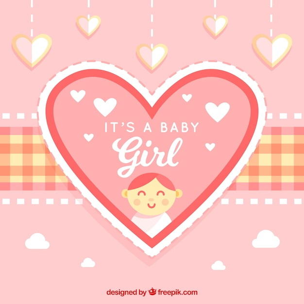 Cute Baby Girl Background In Flat Style Free Vector