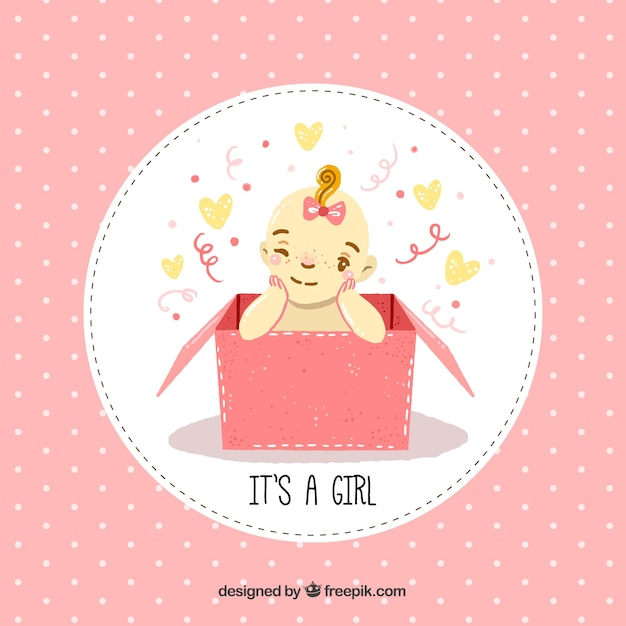 Cute baby girl background in hand drawn style Free Vector