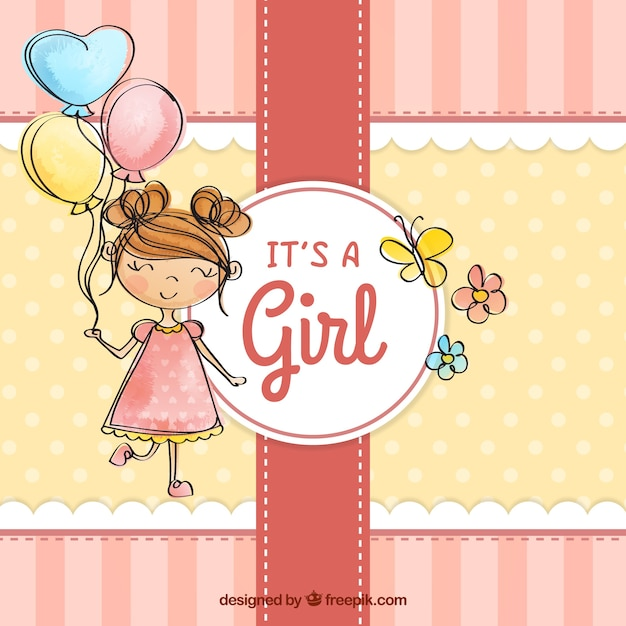 Charming Cute Baby Girl Background In Hand Drawn Style Free Vector