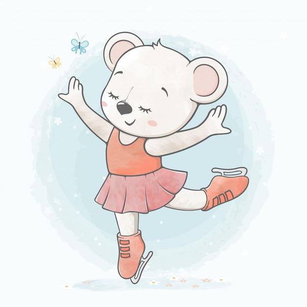 Cute Baby Girl Bear On Ice Skate Water Color Cartoon Hand Drawn