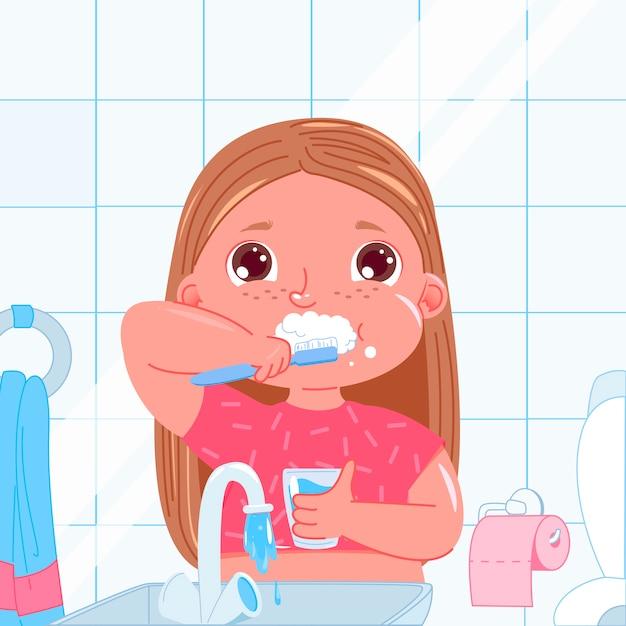 Милая девочка, ее зубы по утрам. повседневные дела. гигиена полости рта. Бесплатные векторы