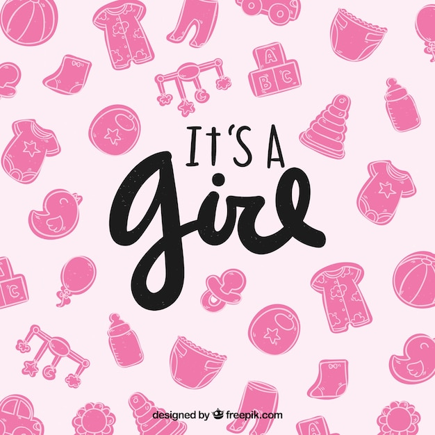 Cute baby girl card with toys and\ clothes