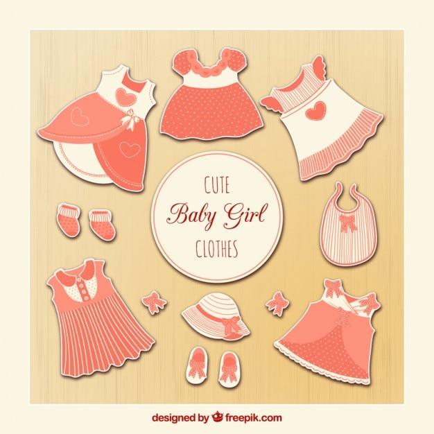 b01b1f3006f9 Cute baby girl clothes Vector