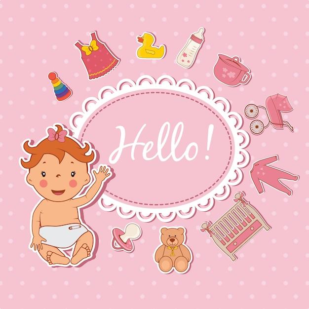 Cute baby girl hello card Premium Vector