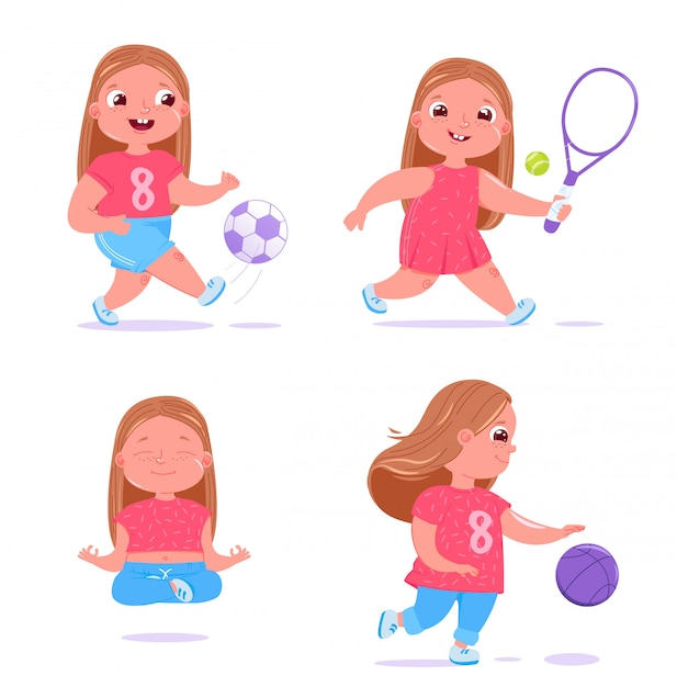 Cute baby girl is engaged in different type of sports. Free Vector
