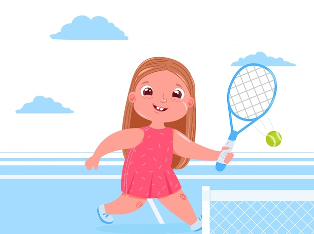 Cute baby girl playing tennis with racket at court. doing sports healthy life. daily routine. Free Vector
