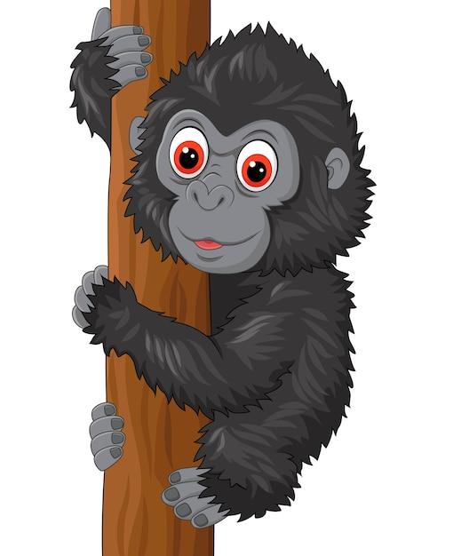 Cute baby gorilla climbing tree Premium Vector