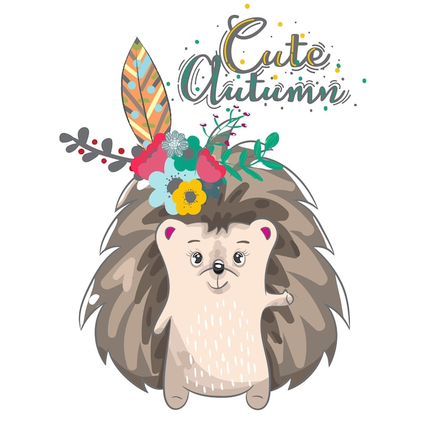 Cute Baby Hedgehog Cartoon Hand Drawn Vector Premium Download