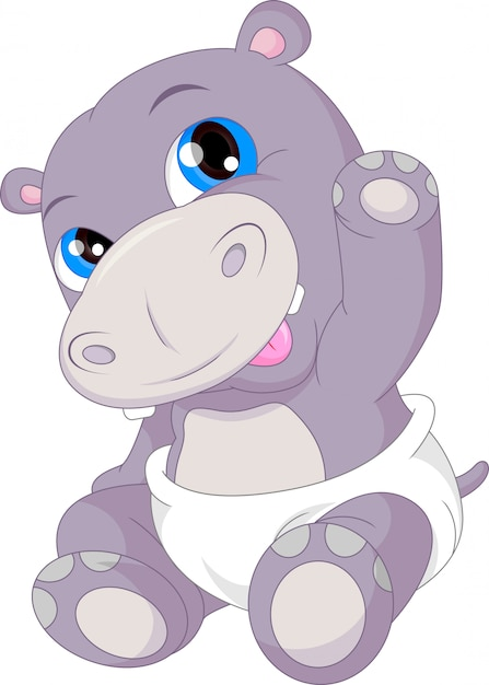 Cute baby hippo cartoon waving Premium Vector