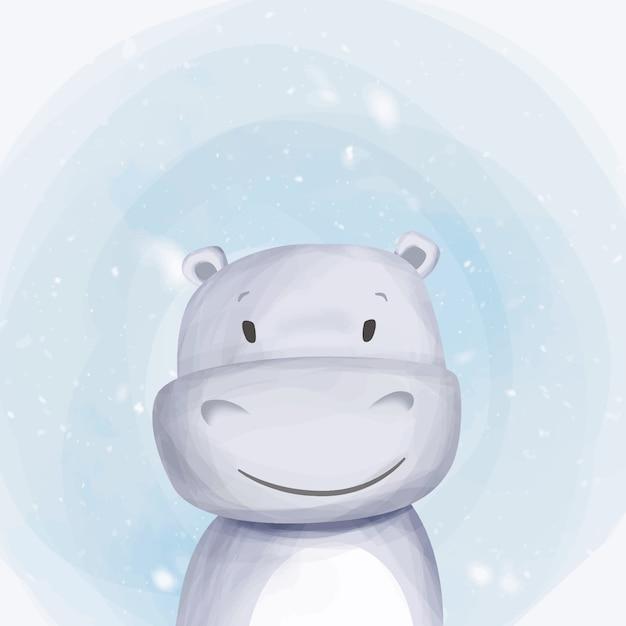 Cute baby hippo portrait watercolor Premium Vector