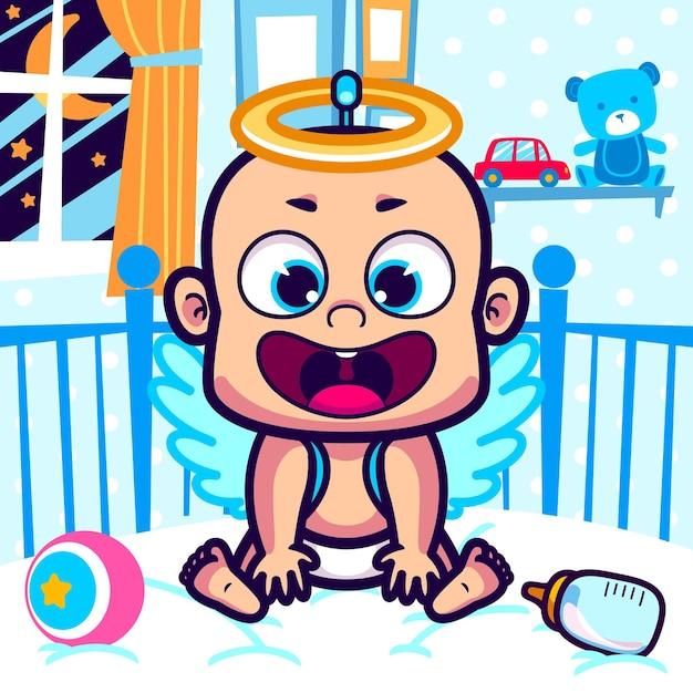 天使の衣装漫画のかわいい赤ちゃん Premiumベクター