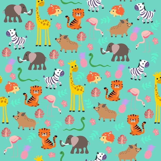 Cute baby jungle  pattern Premium Vector