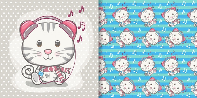 Cute baby kitten greeting card with pattern set Premium Vector