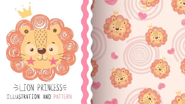 Cute baby lion seamless pattern Premium Vector