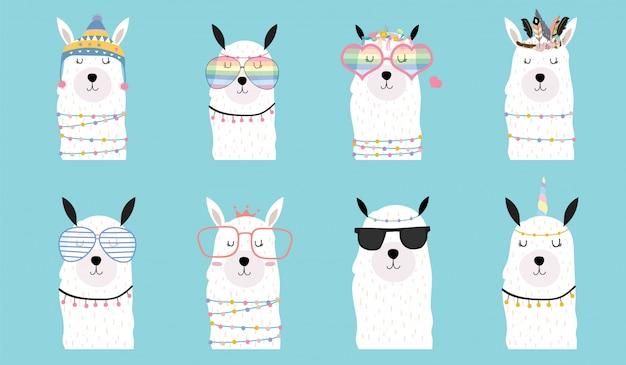 Cute baby llama animal cartoon Premium Vector
