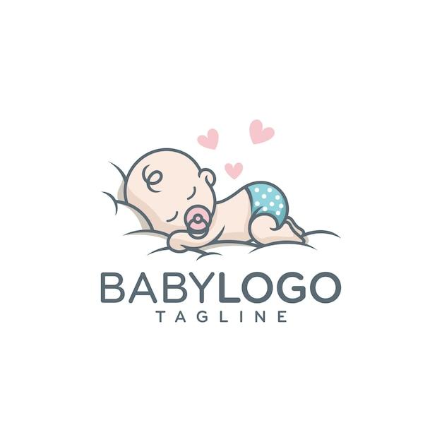Cute baby logo design vector Premium Vector