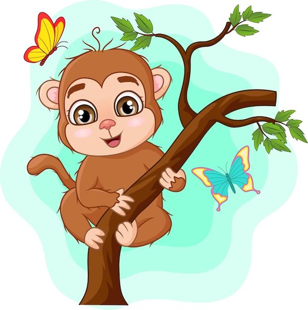 木の枝にかわいい赤ちゃん猿 Premiumベクター