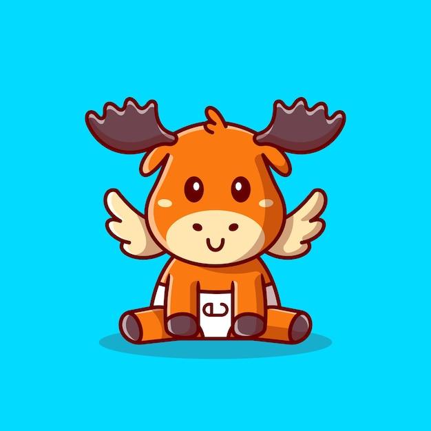 Illustrazione dell'icona del fumetto di seduta delle alci del bambino sveglio. natura animale icona concetto isolato. stile cartone animato piatto Vettore gratuito
