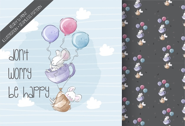Cute  baby mouse flying  illustration seamless pattern Premium Vector