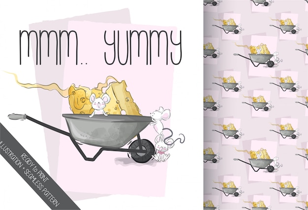 Cute baby mouse lovely cheese seamless pattern Premium Vector