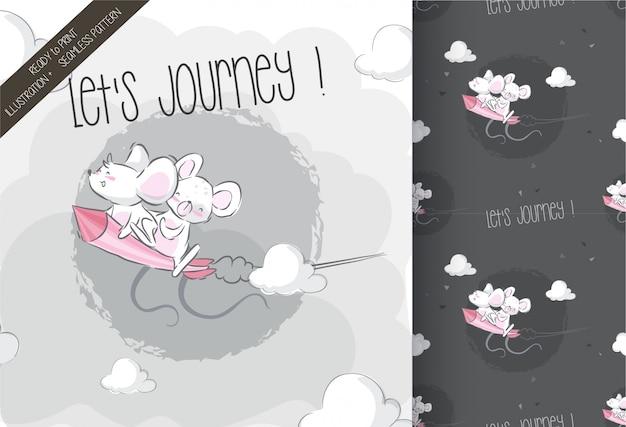 ロケットseamlesパターンのかわいい赤ちゃんマウス Premiumベクター