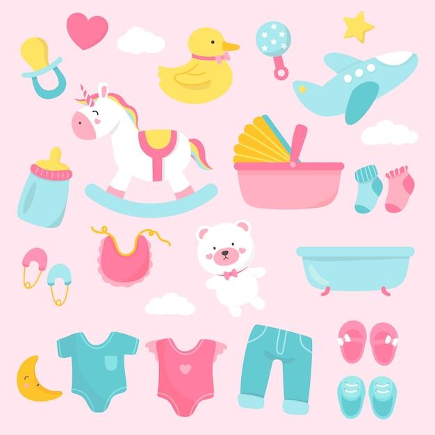 Cute baby nursery decoration Free Vector