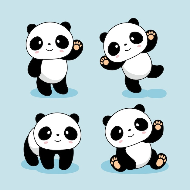 Cute Baby Panda Cartoon Animals Premium Vector