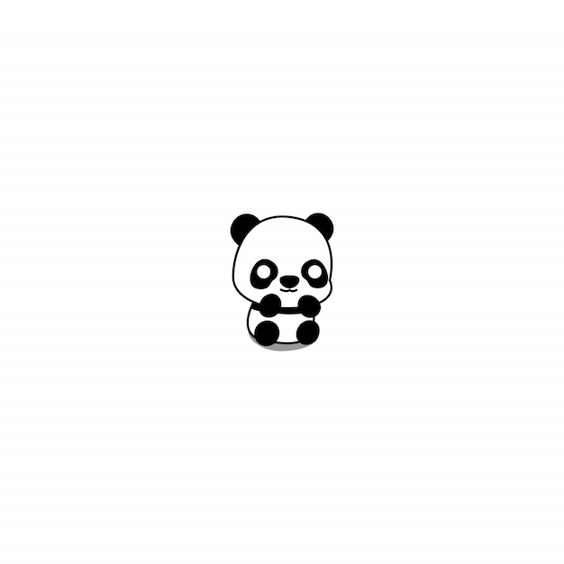 Cute Baby Panda Cartoon Icon Premium Vector
